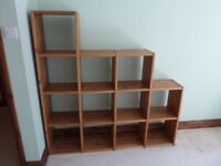 SOLID PINE Boxed Shelving Bookcase Unit