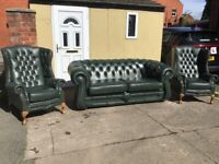 GREEN LEATHER CHESTERFIELD SUITE 3 SEATER AND 2 HIGH BACK QUEEN ANNE CHAIRS QUALITY SUITE £1295