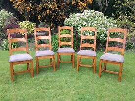 Solid Wooden Dining Chairs With Suede Effect Seats x 5