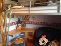 VERY GOOD CONDITION Bunk Bed with desk & futon (changes to second bed). Incl. desk chair and matress