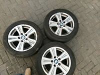"Genuine 16"" BMW 1 series complete set of 4 alloy wheels with tyres"