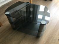 Smokey Glass and Metal TV Stand