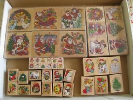 Large new box of wooden Christmas rubber stamps - over 40 stamps in perfect condition