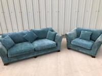 Blue fabric high end sofas 3 seater and cuddle chair