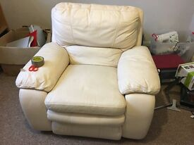 Reclining White Leather Electric Chair