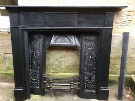 Wooden Fireplace surround with Cast Iron insert/grate