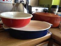 Le creuset Marseilles blue and cherry red cass dishes