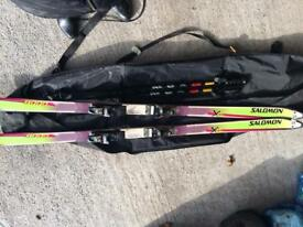 Salomon Skis, bindings, pole and bag
