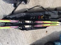 Salomon Skis, bindings, pole and bag