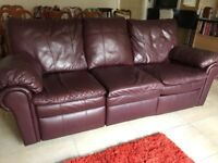 Burgundy Leather Reclining Sofa and 2 Reclining Chairs