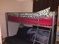 Metal bed frame single with futon at bottom