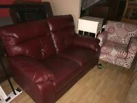2 seater red leather sofa arm chair sold separately