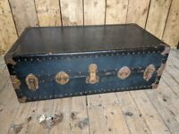 Vintage Steamer Trunk Coffee Table Box Chest superior labels Watajoy? gplanera