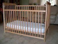"Mothercare ""Ashton"" pine cot with ""Coolmax"" foam mattress"