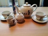 UNUSED Teapot, milk and sugar pot, two cups and plate Dubout Cats - RARE