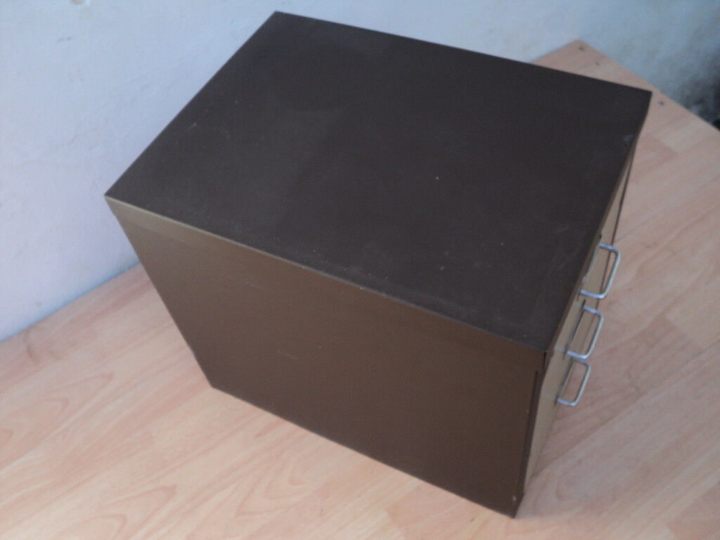 Small Desk Size 3 Drawer Metal Filing Cabinet Storage Unit Paper Files Etc Brown Vintage In Weymouth Dorset Gumtree