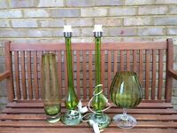 Green glass vase, brandy glass and two lamps