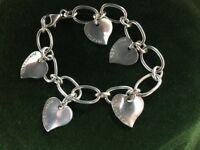 Tiffany 5 Tiffany & Co engraved hearts. 925 silver plated bracelet