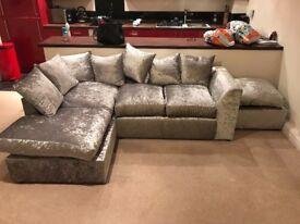 Brand NEW velvet crush sofa corner suite