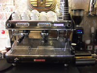 Used Sanremo Verona 2 group coffee shop espresso machine with on demand grinder and knockout draw