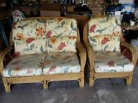 Conservatory cane furniture 2 seater and chair