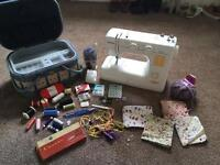 Janome New Home 2050 sewing machine with sewing box & tools