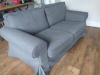 IKEA EKTORP 2 seater Sofa + Dark Grey cover