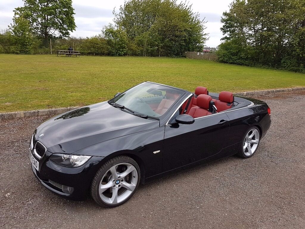 2007 Bmw 335i Petrol Convertible Black Red Leather In