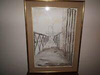 Large Contemporary painting signed AM SMith, boys fishing on bridge, gold leaf frame