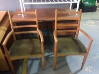 two scheiber chairs vintage green