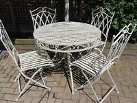 Garden Cream Metal Table & folding chairs pretty shabby chic