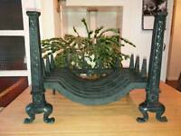 Gothic style Heavy Wrought Iron Fire Grate & Dogs