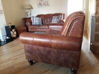 DFS brown leather 3 piece suite plus ottoman
