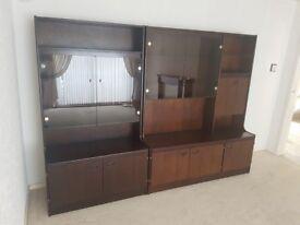 Pair of dresser display cupboard/cabinets, solid dark wood (poss mahogany)