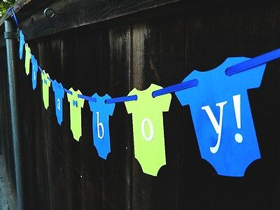 It's A Boy Jumpsuit Banner Little Man Modern Green and Blue Baby Shower (Green And Blue Baby Shower)