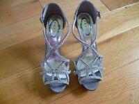 Prom, Ball, Wedding Diamante/Silver Satin High Heel Sandals and Clutch Bag