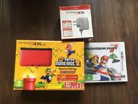 Nintendo 3DS Xl Super Mario Bros 2 plus Mario Kart game and ac adapted