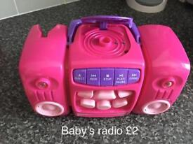 Kids small toy radio makes sounds