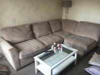 Fabric Corner sofa with foot stool