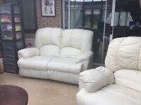 Recliner Cream leather two seater sofa and chair