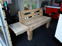 Handmade Garden Bench with Removable Side Table