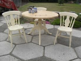 Shabby Chic Farmhouse Country Rustic Solid Pine Round Table and 3 Chairs In Farrow & Ball Cream 67