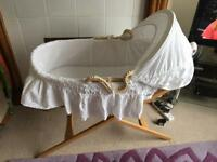 Moses basket, stand and ventalux mattress