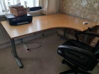 Ikea corner desk T legs adjustable high