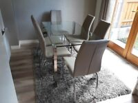 Modern dining table & chairs - as new condition
