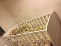 Solid wood baby cot with mattress