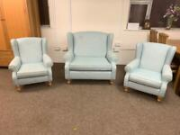 Next duck egg blue sofa armchair suite * free furniture delivery *
