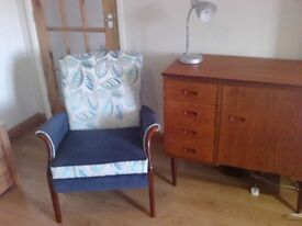 vintage retro parker knoll chair, froxfield 748/9 1950's, refurbished, courier poss***