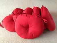 6 red matching garden seat cushions round 45cm