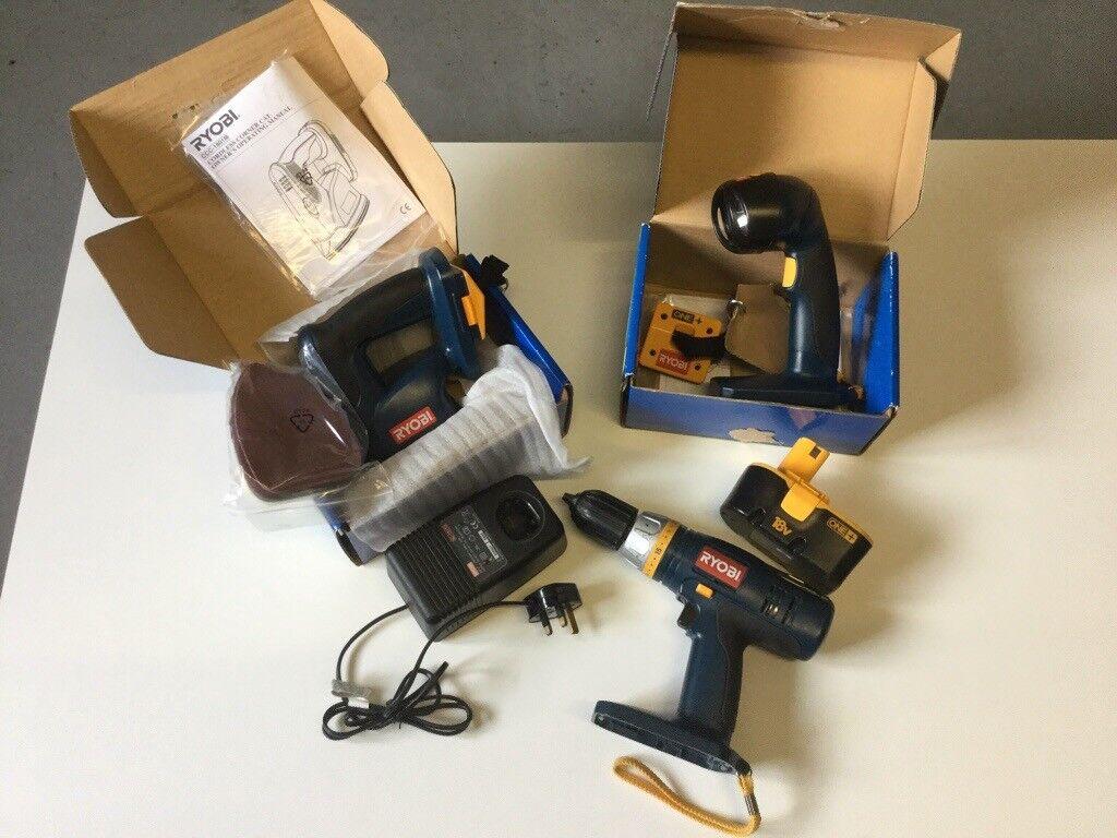 Ryobi Cordless power tools Hammer Drill torch hand Sander